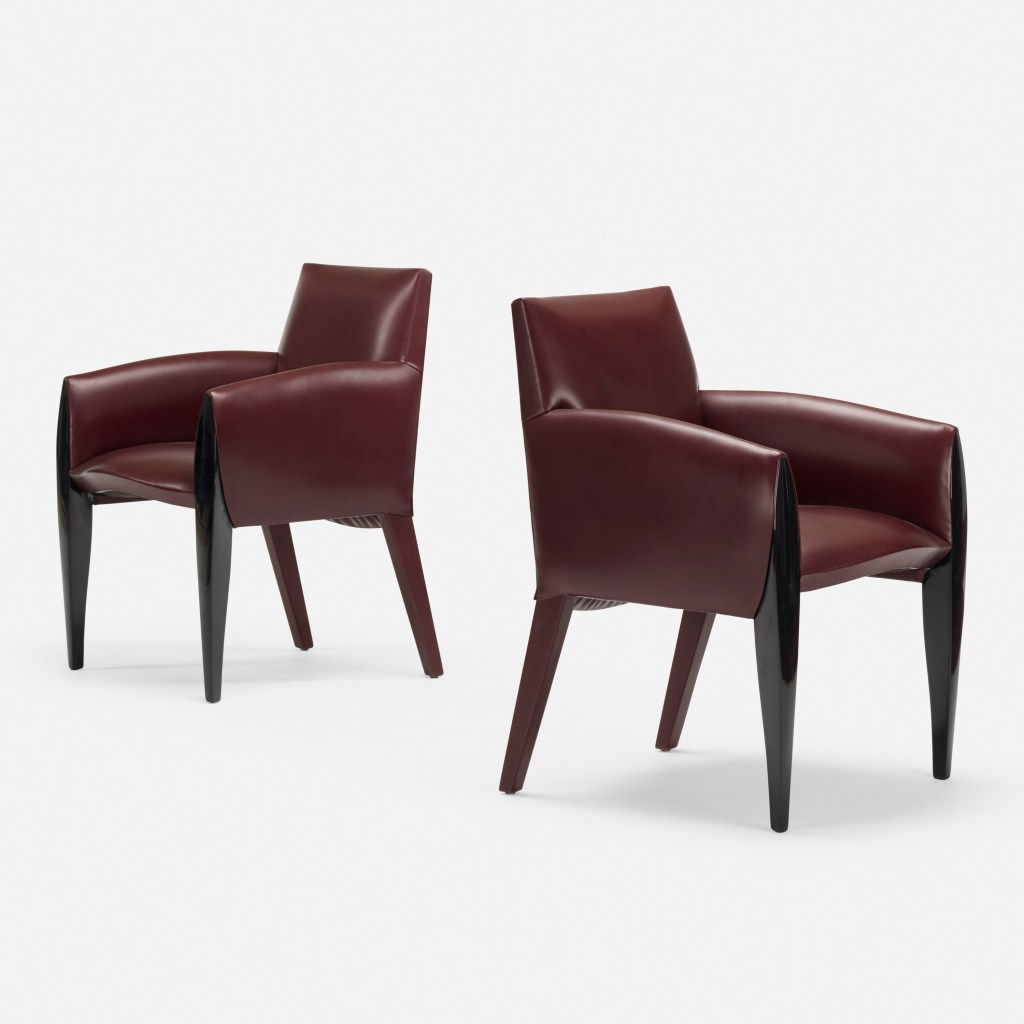Ke-zu armchairs, pair designed by Dakota Jackson
