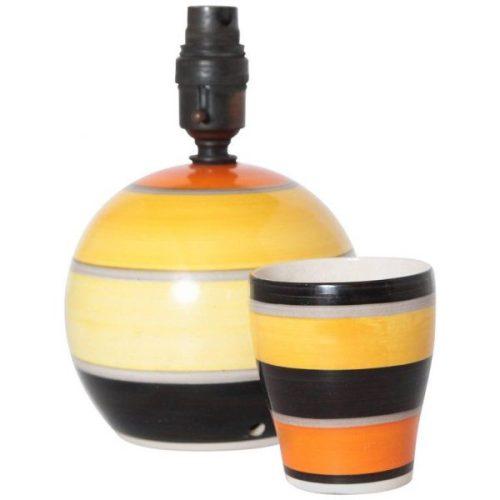 Art Deco Susie Cooper Gray's Pottery Modernist Lamp and Beaker Duo