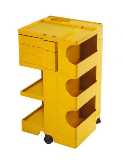 'Boby 3' trolley for Bieffeplast, yellow, plastic and moveable. Designed by Joe Colombo