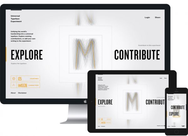 Universal Typeface website landing page