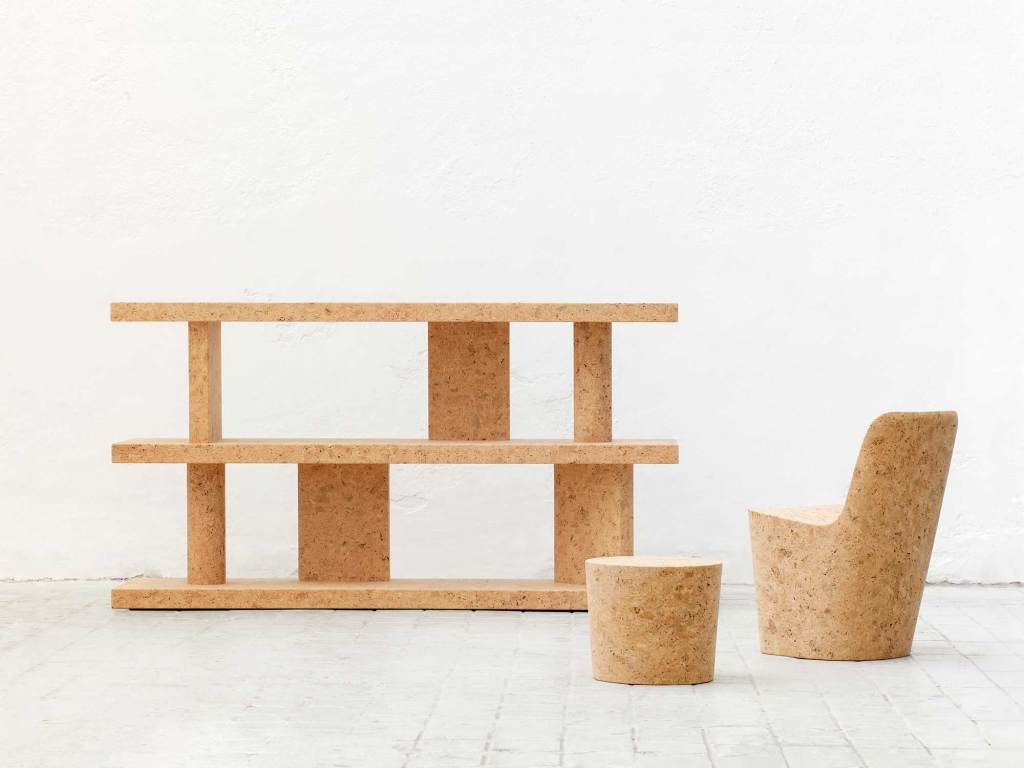 A range of edition furniture made of cork.