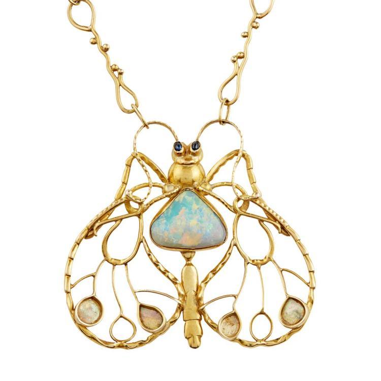 An opal and sapphire pendant by Erik Magnussen circa 1918