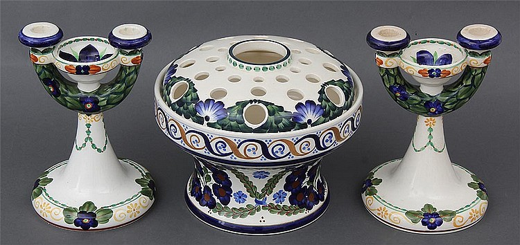 Aluminia faience three piece set with floral decoration by Christian Joachim