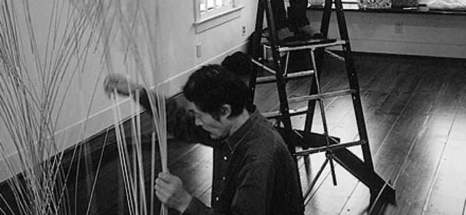 Masakzu Kobayashi preparing for exhibition