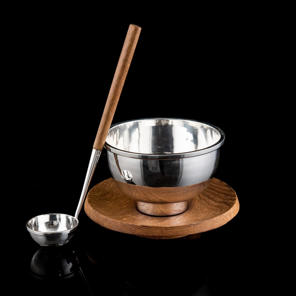 Bowl and ladle with wooden handle designed by Bertel Gardberg