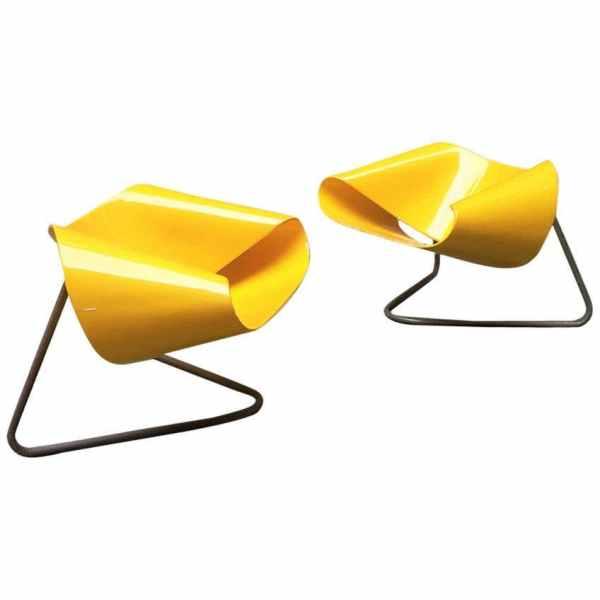 Italian Yellow Nastro CL9 Armchairs by Cesare Leonardi e Franca Stagi, 1960