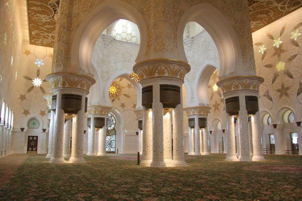 Interior of the Main Prayer Hall in Sheikh Zayed Mosque, Abu Dhabi, United Arab Emirates.
