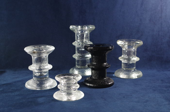"Staffan Gellerstadt for Pukeberg Glassworks - 5 ""Festivo"" design candle holders"