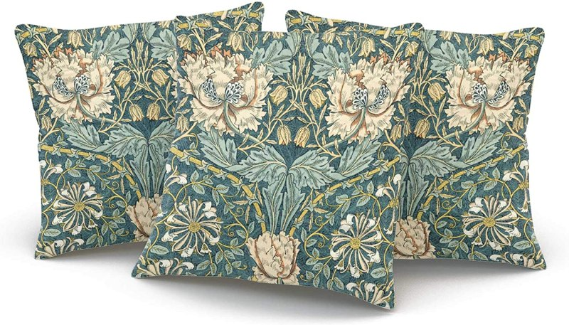 KAQIU Home Decoration Pillowcase Cover Teal Vintage Tulips by William Morris Custom Pillow case Cushion Fashion Chic Double Sided Printed Design