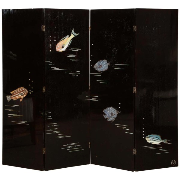 """Important """"Poissons"""" Lacquer Screen, by Leon Jallot"""