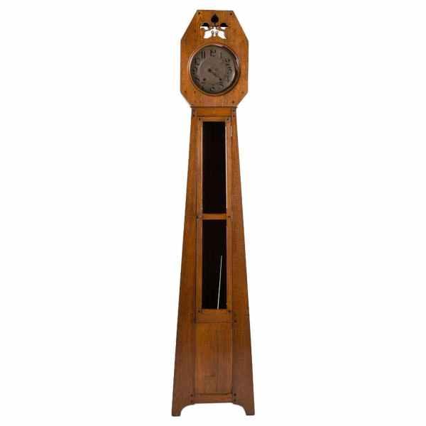 Oak Grandfather Clock, France, 1910 designed by Leon Jallot