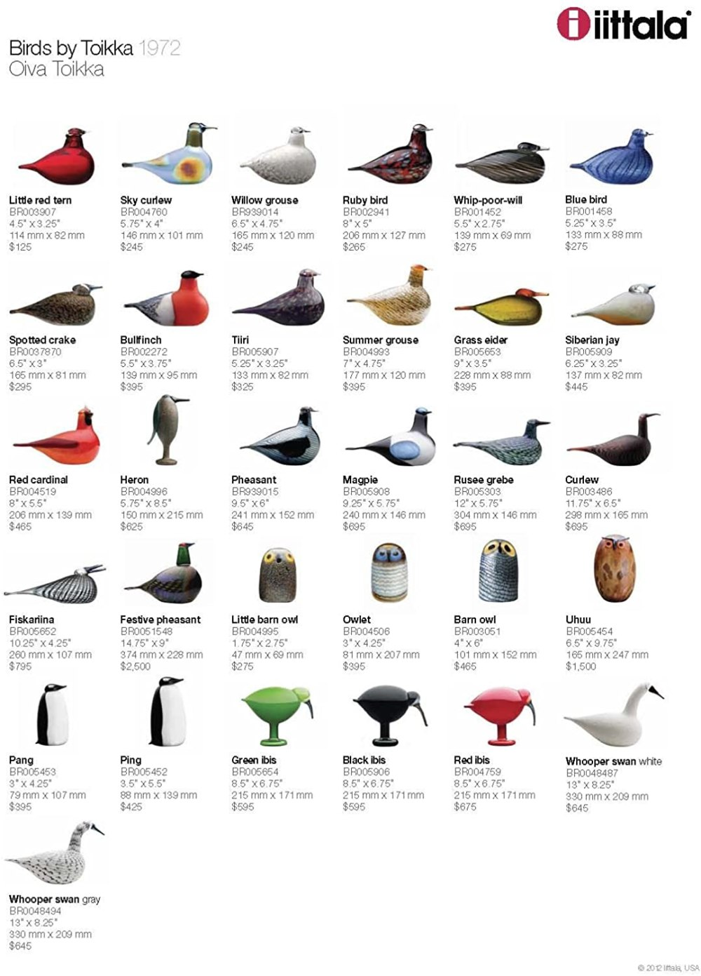 Iittala Birds of Toikka Mouthblown Glass Bird, Blue Bird Product Fact Sheet