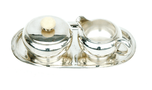 Art Deco Silver Set with Sugar Bowl, Milk Jug, and Tray by Emmy Roth