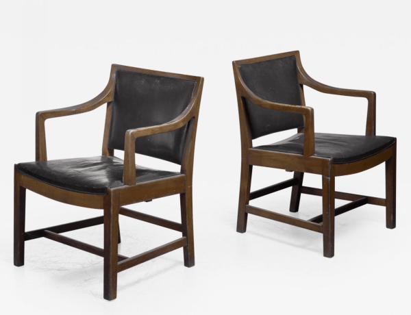 Pair of Kay Fisker attributed armchairs in dark green leather