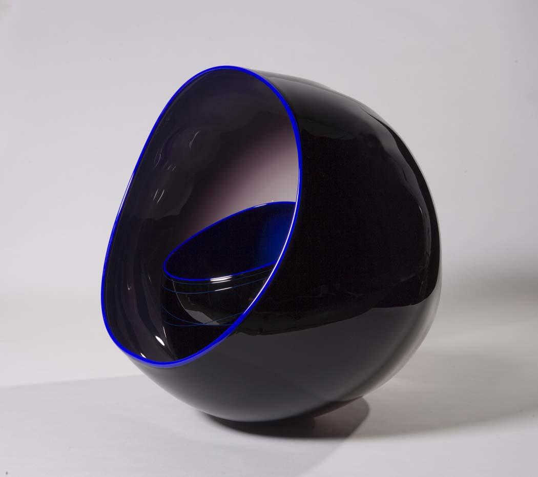 Black basket set with cobalt lip wraps designed by Dale Chihuly