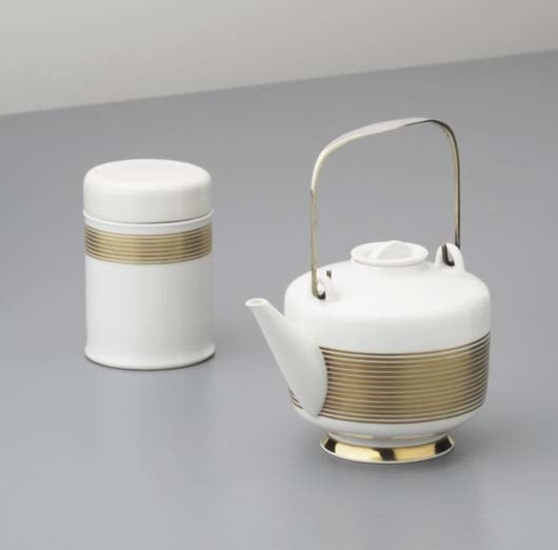 """Extract teapot and tea caddy from the """"Hallesche Form"""" series Marguerite Friedlander and Trude Petri"""