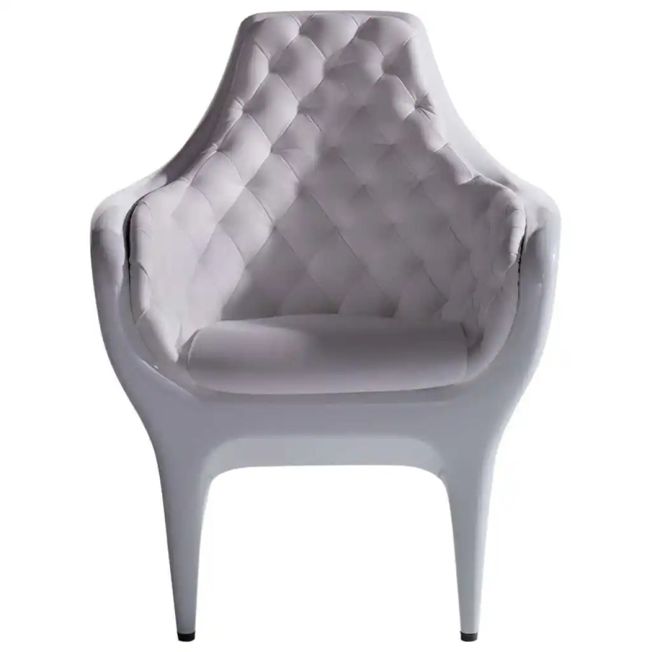 Armchair in white lacquer and white capitone leather by Jaime Hayon