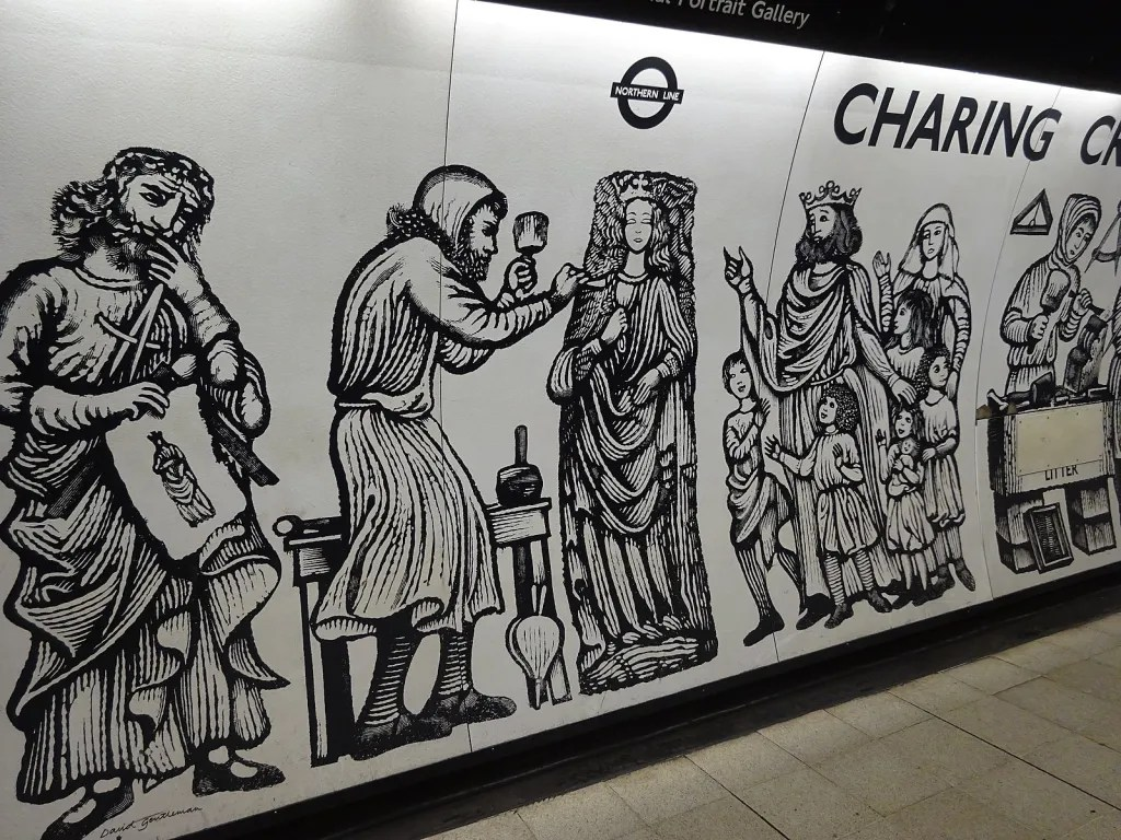 Detail of 1979 mural by David Gentleman, Northern Line platforms, Charing Cross tube station, London, showing the erection of the medieval Eleanor cross