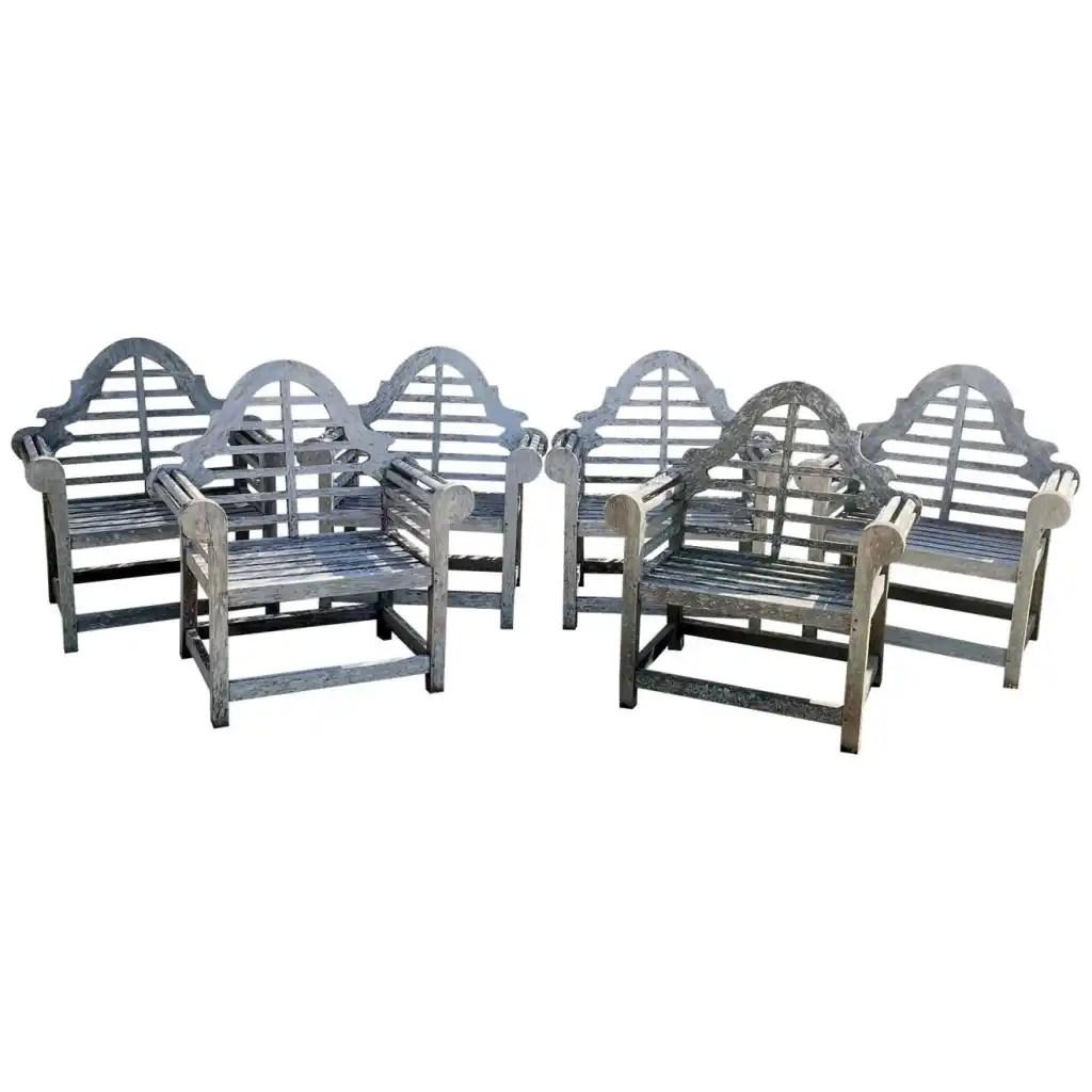 Set of Six English Weathered Lutyens-Style Chairs in Teak by Edwin Landseer Lutyens