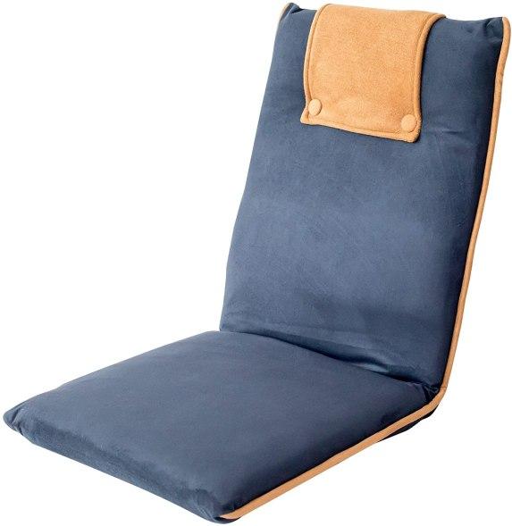 bonVIVO Padded Floor Chair - Easy II Floor Seating for Adults w/Adjustable Backrest, Blue & Beige