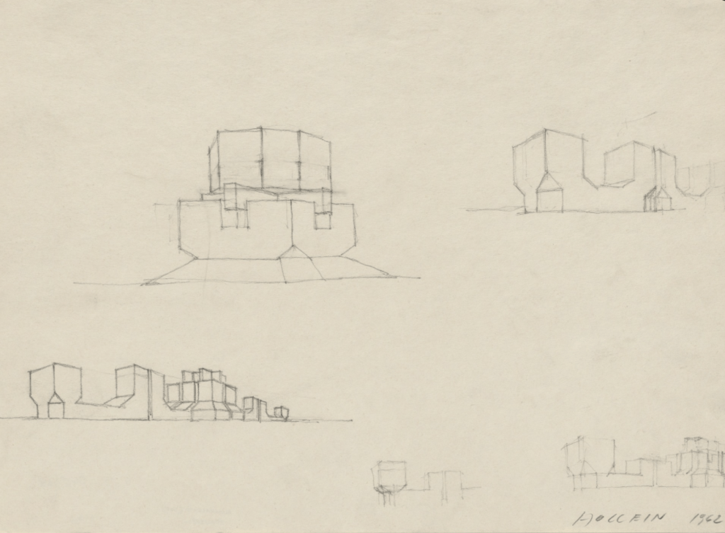 Building Form Studies, project, Perspective, 1962 by Hans Hollein