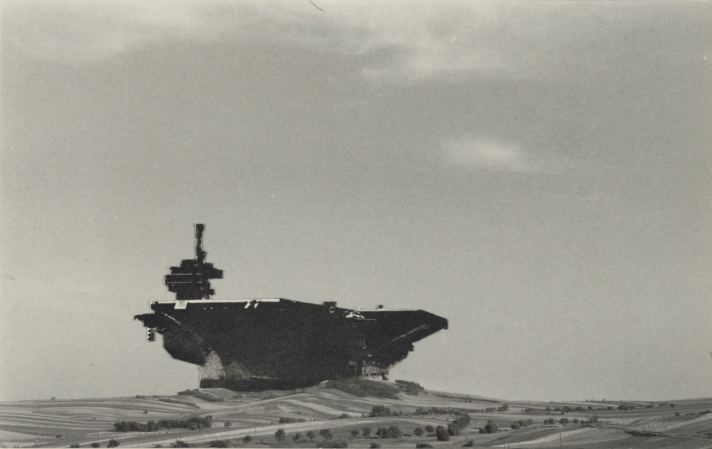 Aircraft Carrier City in Landscape, project, Perspective 1964, by Hans Hollein