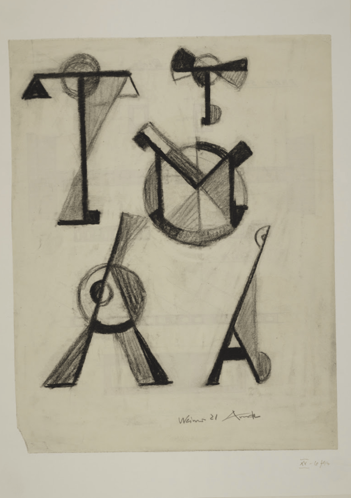 Untitled (Designs for letters A, M, T; exercise from Johannes Itten's class) by Alfred Arndt 1921