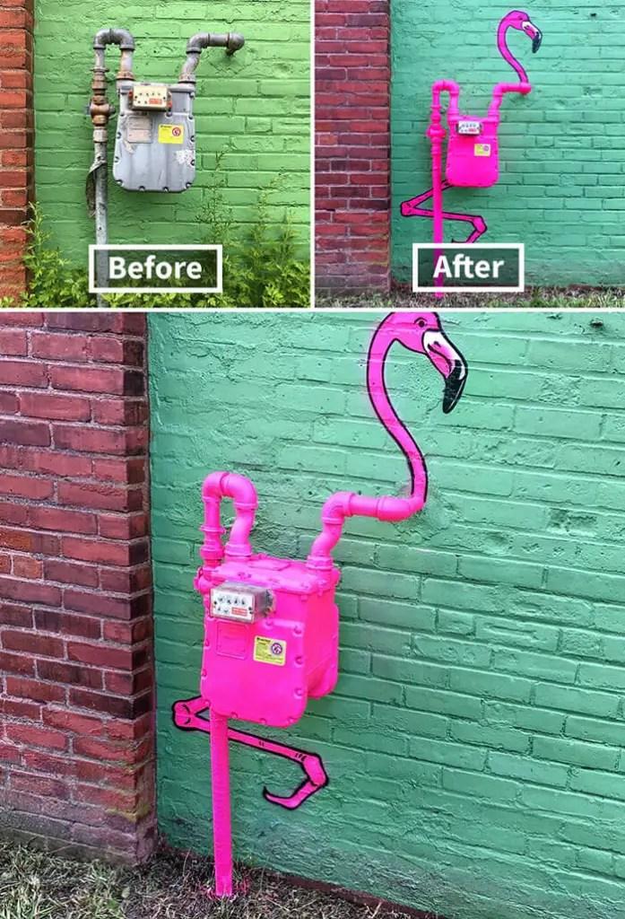 Tom Bob Witty Street Art- Flamingo