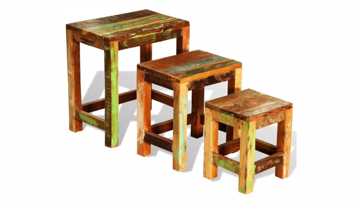 viaXL Reclaimed Wood Nesting Table