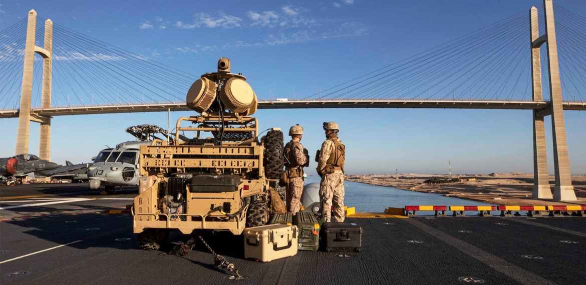 USS Kearsarge Transits The Suez Canal With Anti-Drone Buggies Keeping Watch On Deck