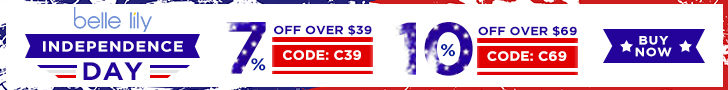 Independence Day Sale: 7% OFF over $39 & 10% OFF over $69