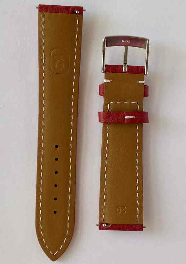 red buffalo leather watch strap, mineral tanned with quick release pins and a tongue buckle