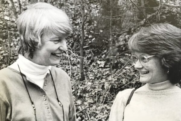 an old photo of Patricia Waller and Carol Runyan