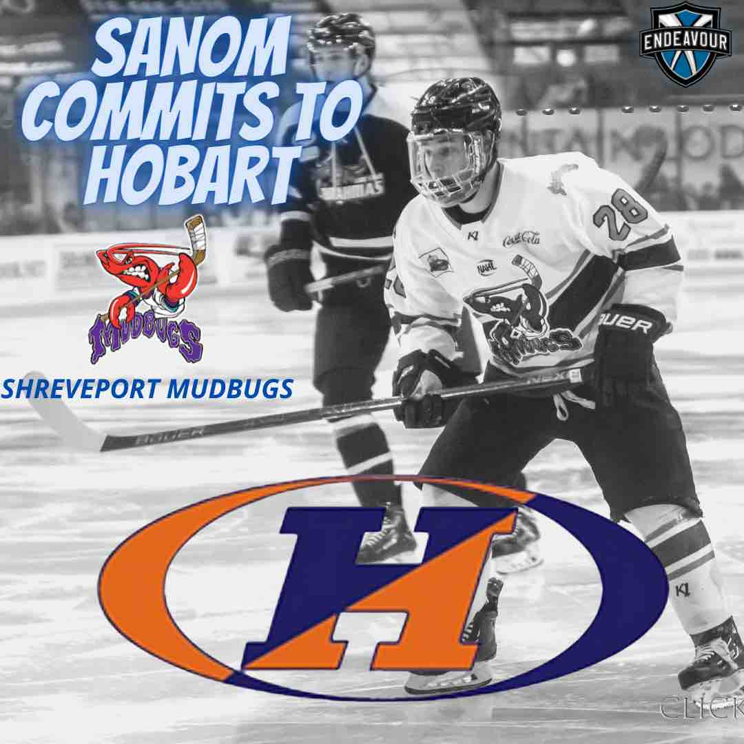 Griffen Sanom commits to Hobart College from the Shreveport Mudbugs of the NAHL