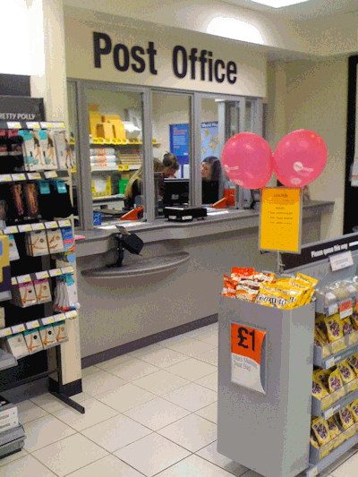 Post Office counter at Enderby Co-op