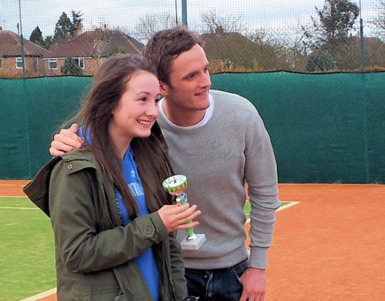 Andy King with tournament winner Ashley Knighten, holding her trophy.
