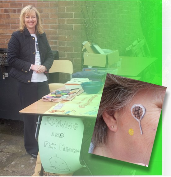 Some appropriate face-painting fun from the face painting stall