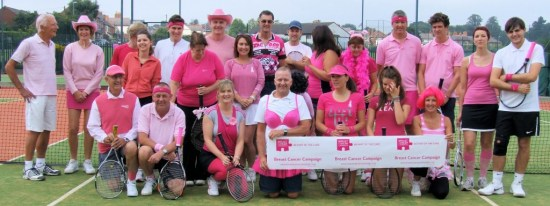 Members and friends of Enderby Lawn Tennis Club pose for group picture