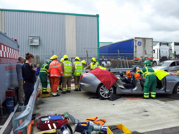 extracating casualty at accident fire open day