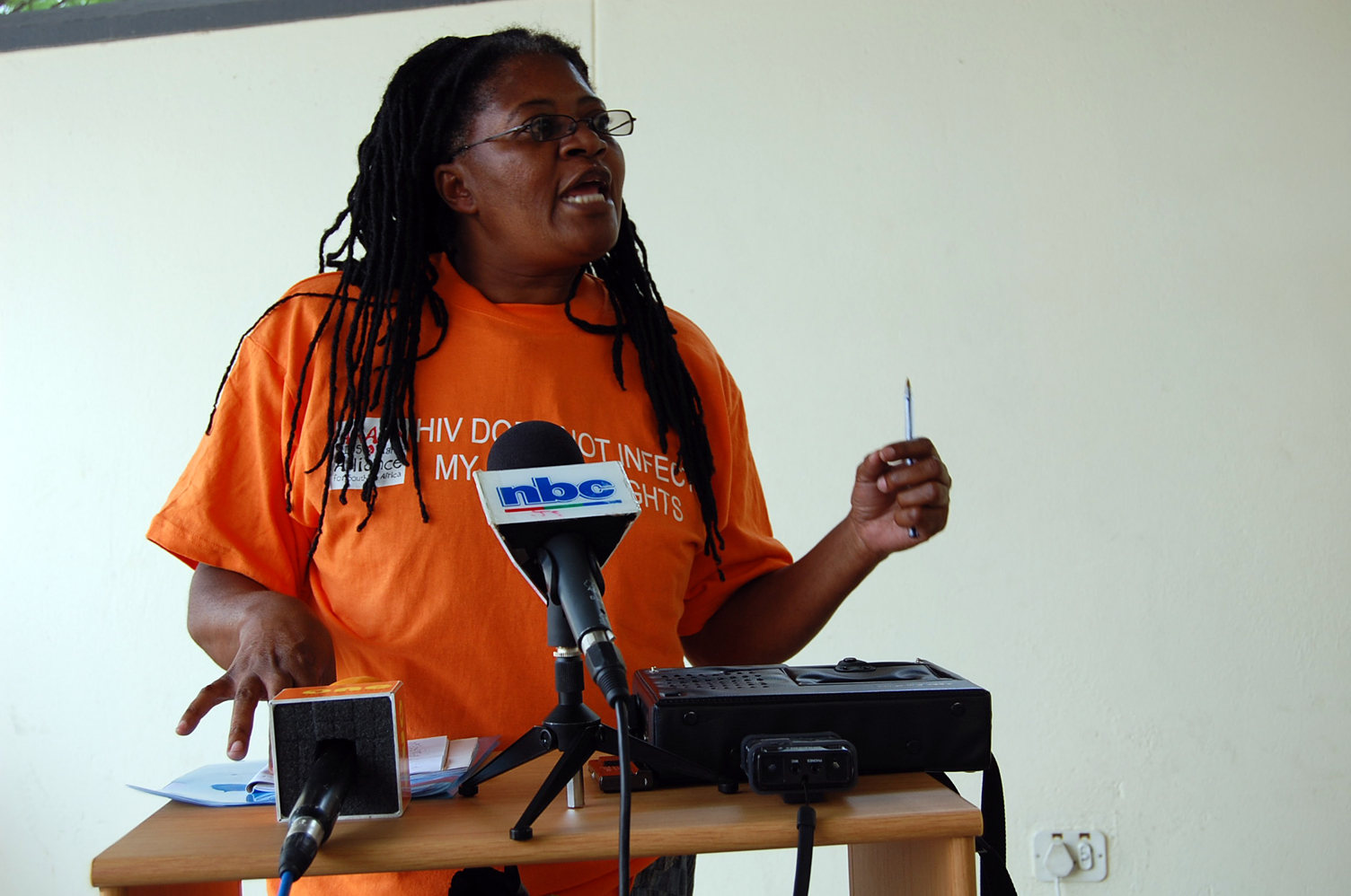 Rosa Namises of Women's Solidarity, Namibia at the press briefing