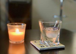Lavender vodka cocktail with lemon juice and honey.