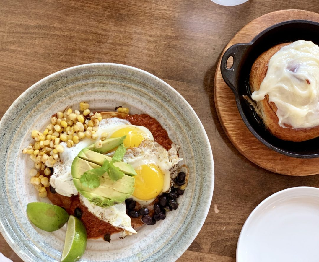 Lolas Eatery Huevos Rancheros and Cinnamon Roll