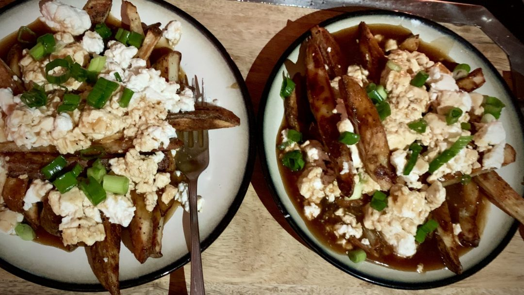 Homemade poutine with fresh cheese curds