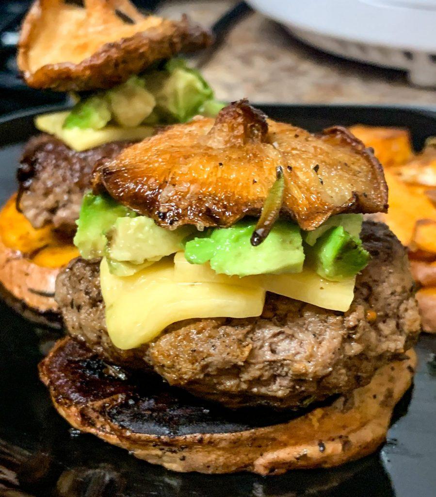 Sweet potato bun, mushroom burger, mild cheddar, avocado, cremini mushroom