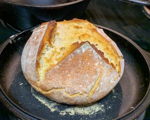 Sourdough Bread made in a cast iron dutch oven