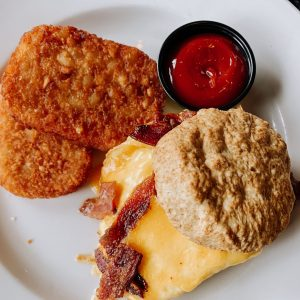 The Abbey on Butler Brunch Biscuit and Hashbrowns