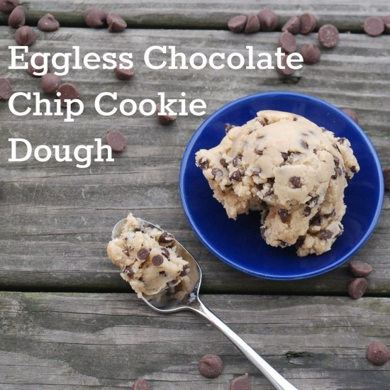 A delectable chocolate chip cookie dough that doesn't contain eggs -- perfect for uncooked recipes or just eating right out of the bowl!