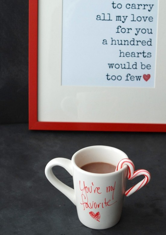 Make cute little hearts to hook on your favorite person's mug. Great for hot chocolate or coffee -- or even milk!