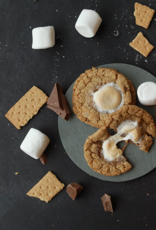 OMG - S'mores cookies with chocolate chunks and graham crackers in the cookie, and topped with a toasted marshmallow. Definitely pinning this to make ASAP! #PBandG #ad