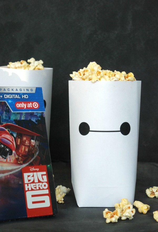 Download an adorable Baymax printable popcorn bag for your #BigHero6MovieNight! The DVD & Blu-ray are now available at @Target. #ad